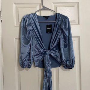 Blue cute silk long sleeve blouse